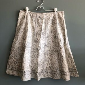 Ivory Linen Skirt with Silver Embroidery